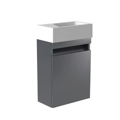 Kartell Ikon Wall Mounted Cloakroom Vanity Unit With Basin - 400mm - Grey - Left Handed